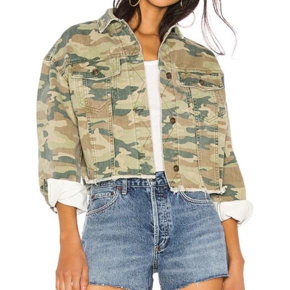 Short distressed camo jacket
